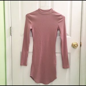 F21 pink ribbed bodycon dress